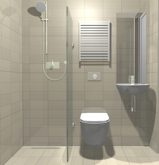 A small but beautifully formed wet room the use of mirror for Tiny shower room design